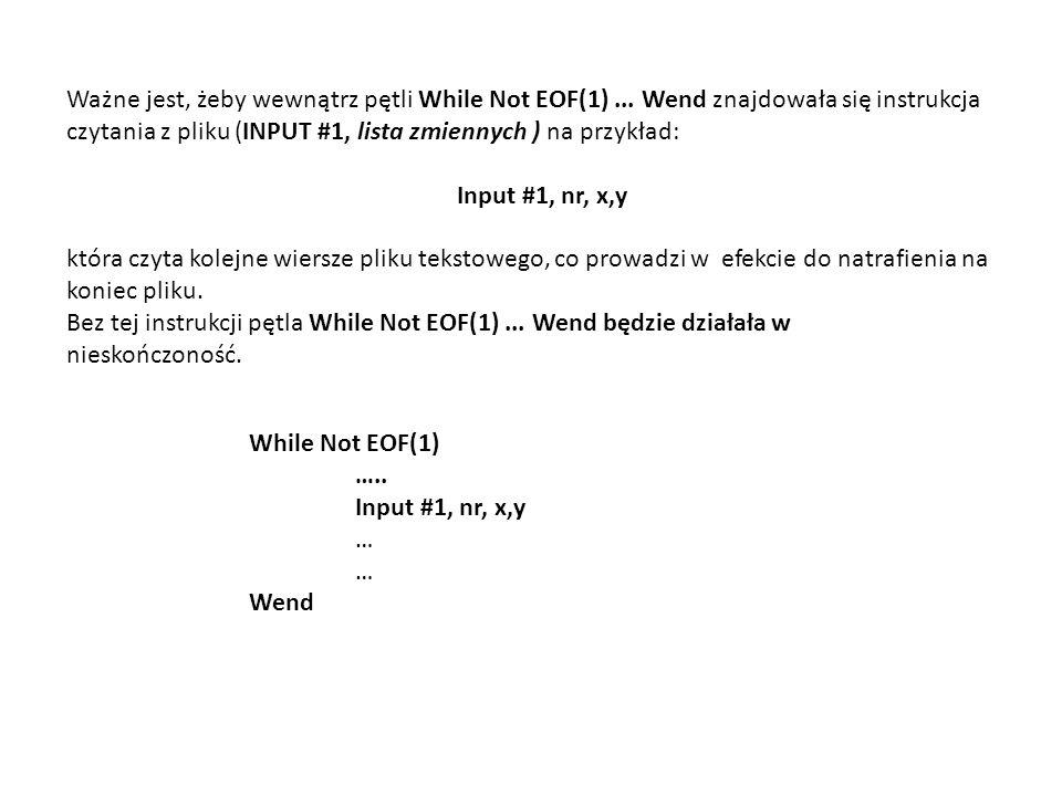 Ważne jest, żeby wewnątrz pętli While Not EOF(1)