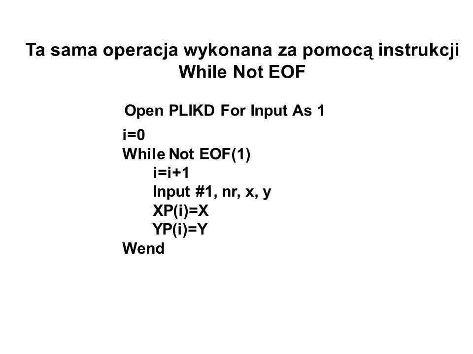 Ta sama operacja wykonana za pomocą instrukcji While Not EOF