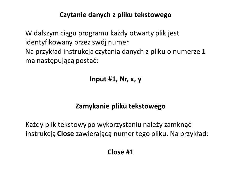 Czytanie danych z pliku tekstowego Zamykanie pliku tekstowego