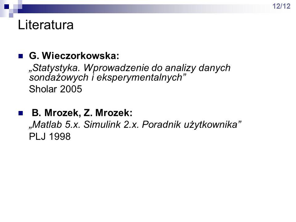 Literatura G. Wieczorkowska: