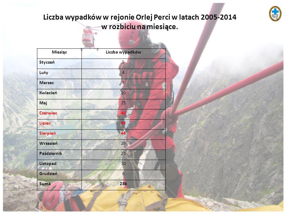 Liczba wypadków w rejonie Orlej Perci w latach 2005-2014 w rozbiciu na miesiące.