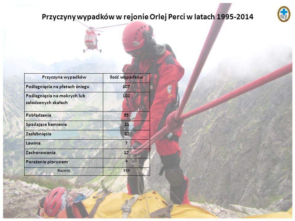 Przyczyny wypadków w rejonie Orlej Perci w latach 1995-2014