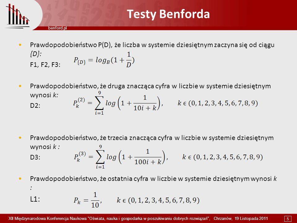 Testy BenfordaPrawdopodobieństwo P(D), że liczba w systemie dziesiętnym zaczyna się od ciągu {D}: F1, F2, F3: