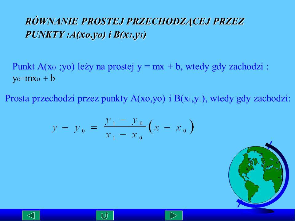 RÓWNANIE PROSTEJ PRZECHODZĄCEJ PRZEZ PUNKTY :A(xo,yo) i B(x1,y1)
