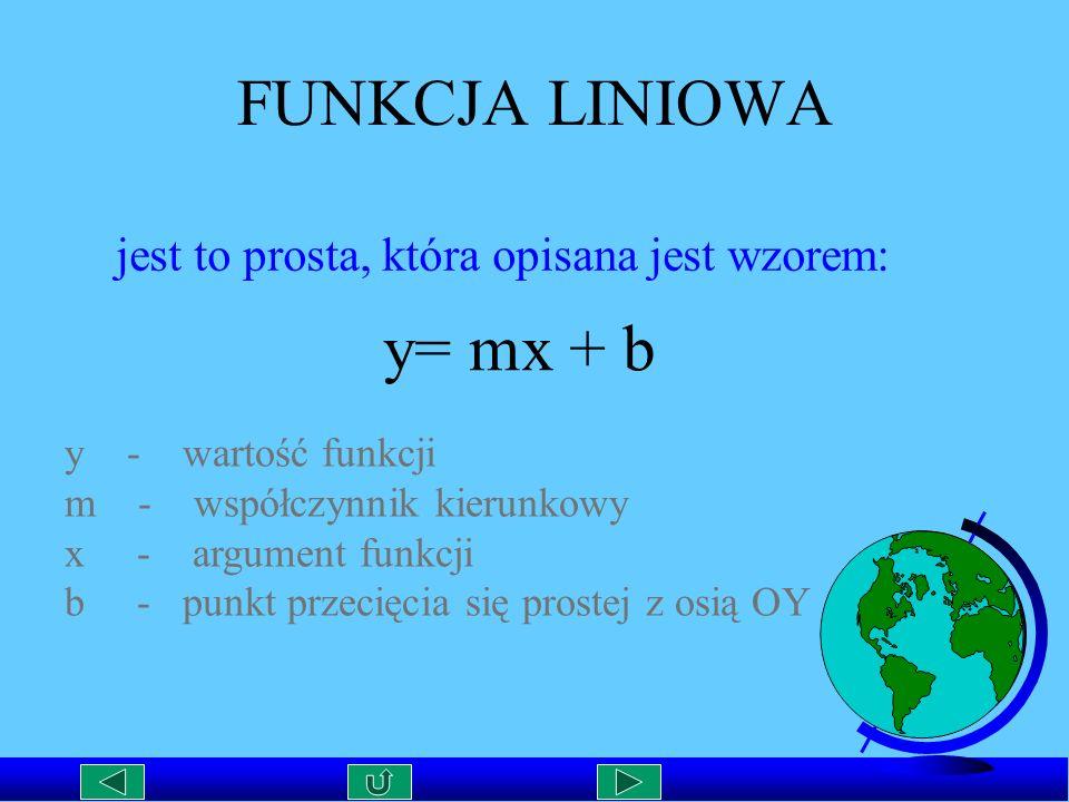 FUNKCJA LINIOWA y= mx + b jest to prosta, która opisana jest wzorem:
