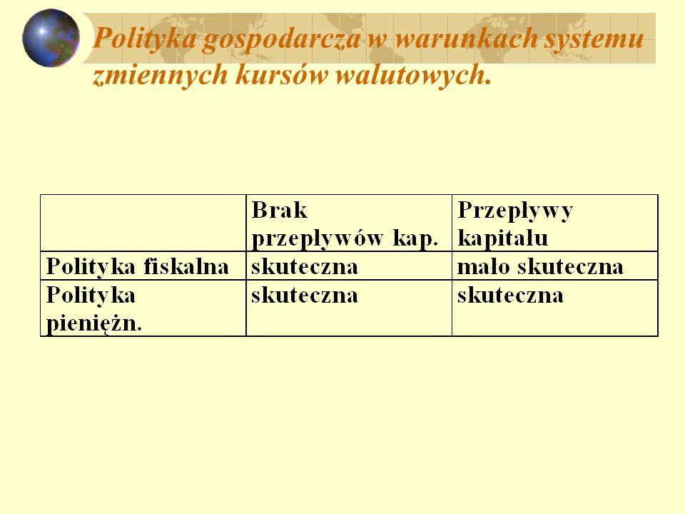 Polityka gospodarcza w warunkach systemu zmiennych kursów walutowych.