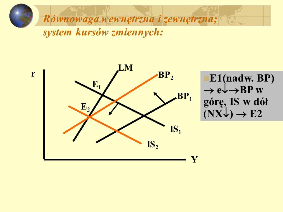 Równowaga wewnętrzna i zewnętrzna; system kursów zmiennych: