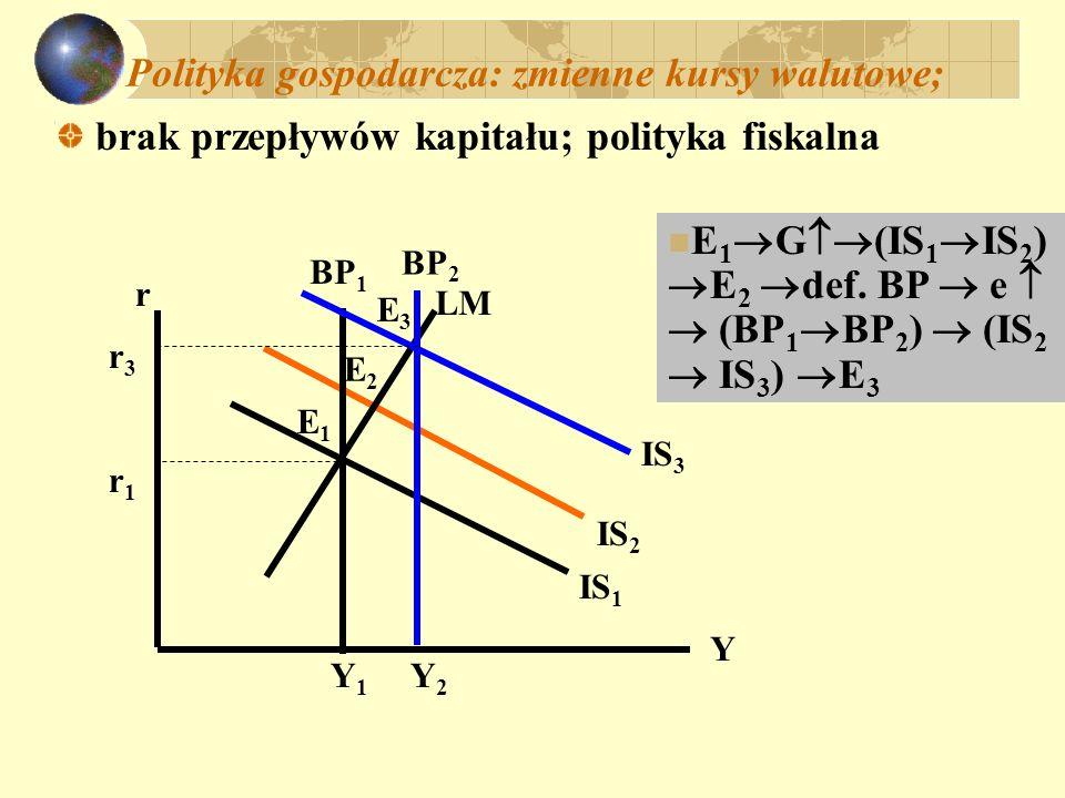 Polityka gospodarcza: zmienne kursy walutowe;