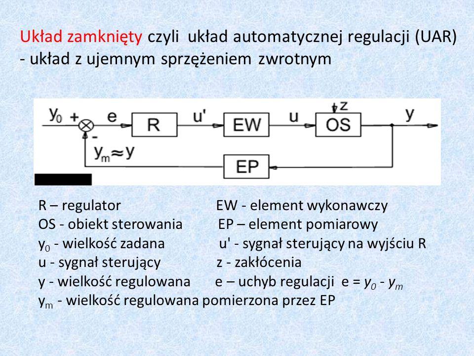Układ zamknięty czyli układ automatycznej regulacji (UAR) - układ z ujemnym sprzężeniem zwrotnym