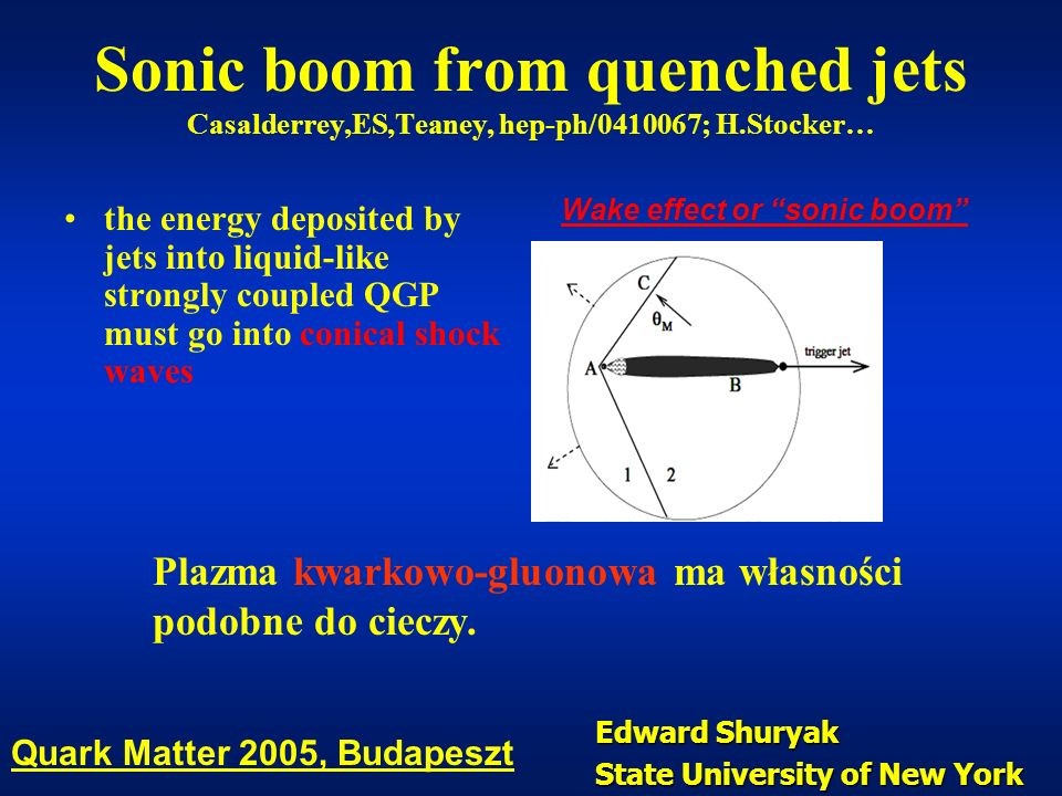 Sonic boom from quenched jets Casalderrey,ES,Teaney, hep-ph/0410067; H