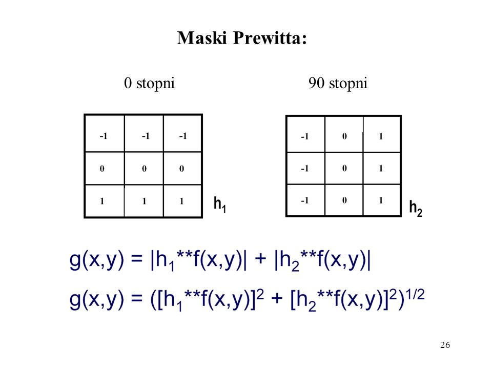 Maski Prewitta: 0 stopni 90 stopni