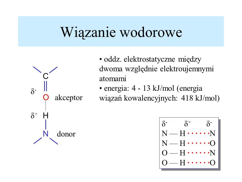 Wiązanie wodorowe oddz. elektrostatyczne między dwoma względnie elektroujemnymi atomami.