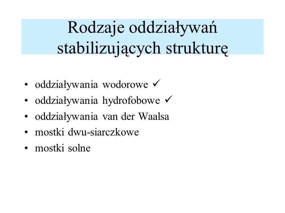 Rodzaje oddziaływań stabilizujących strukturę