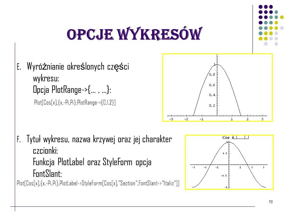 Opcje Wykresów Opcja PlotRange->{… , …}: