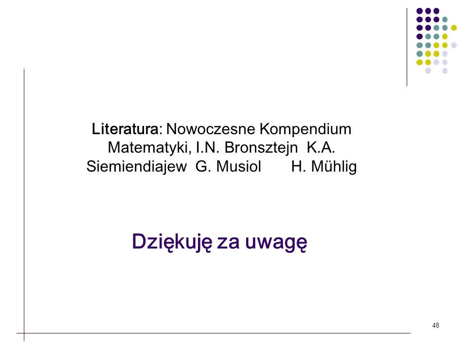 Literatura: Nowoczesne Kompendium Matematyki, I. N. Bronsztejn K. A