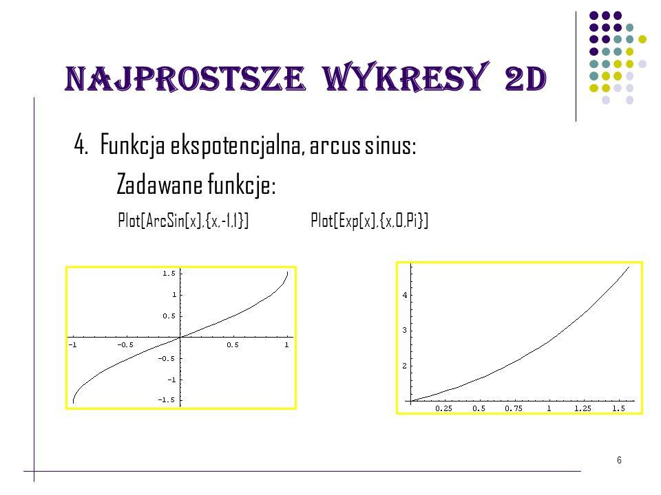 Najprostsze wykresy 2D 4. Funkcja ekspotencjalna, arcus sinus: