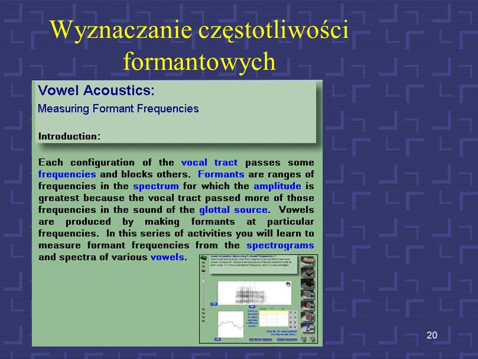 Wyznaczanie częstotliwości formantowych