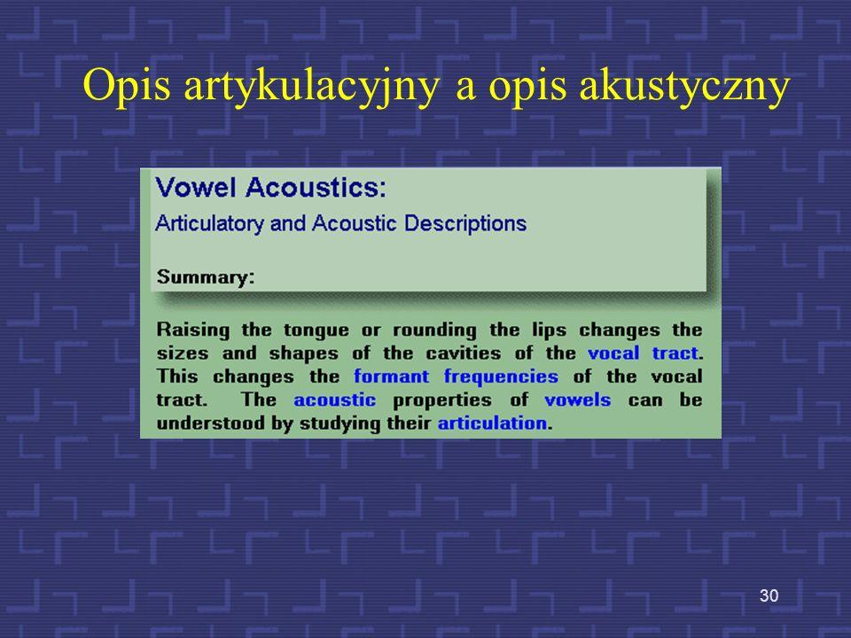 Opis artykulacyjny a opis akustyczny