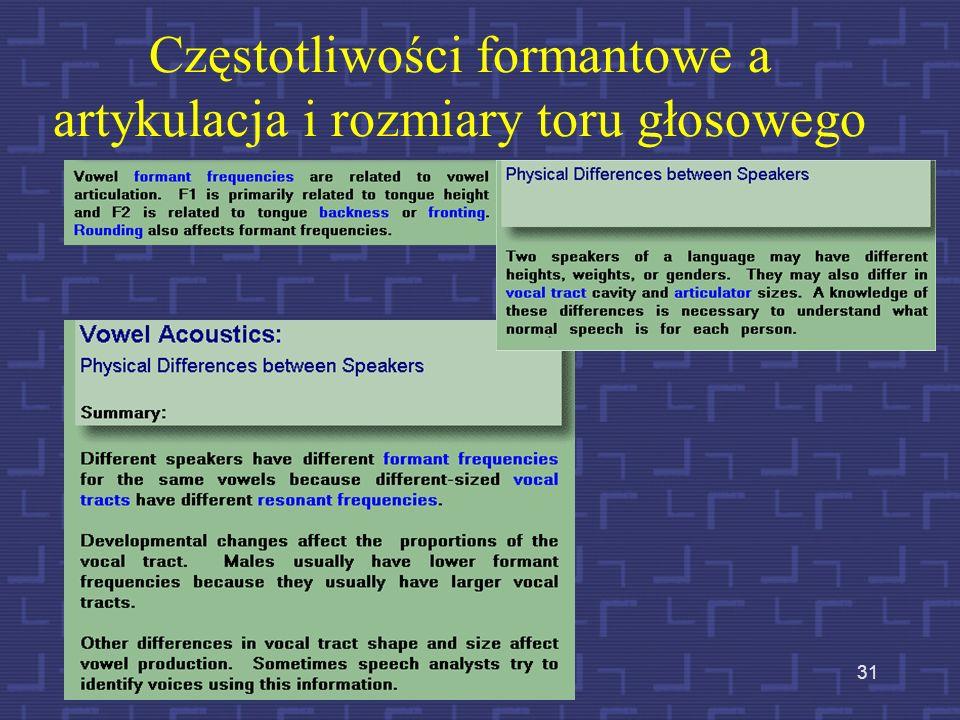 Częstotliwości formantowe a artykulacja i rozmiary toru głosowego