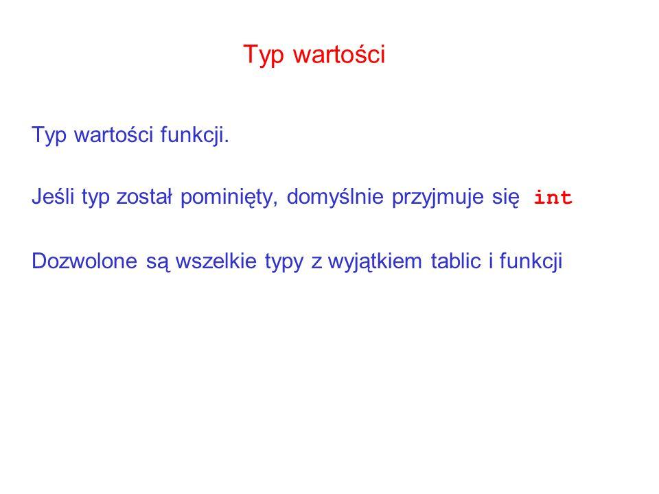 Typ wartości Typ wartości funkcji.
