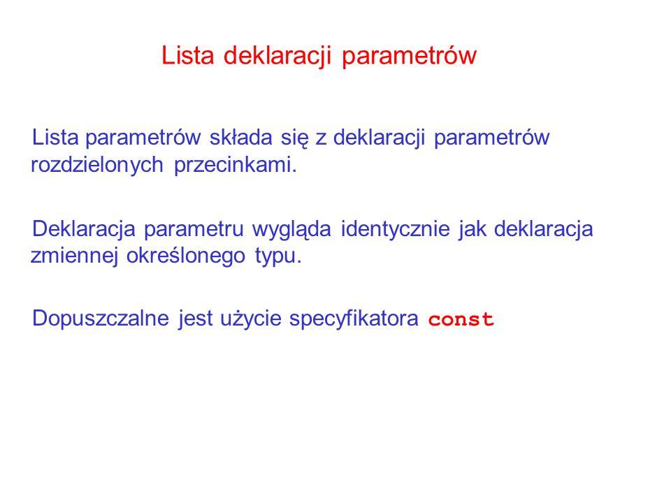 Lista deklaracji parametrów