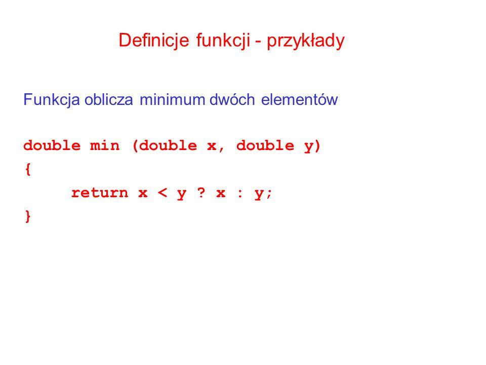Definicje funkcji - przykłady