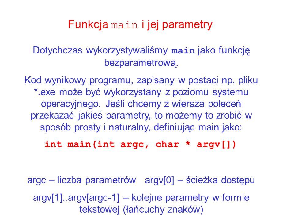 Funkcja main i jej parametry