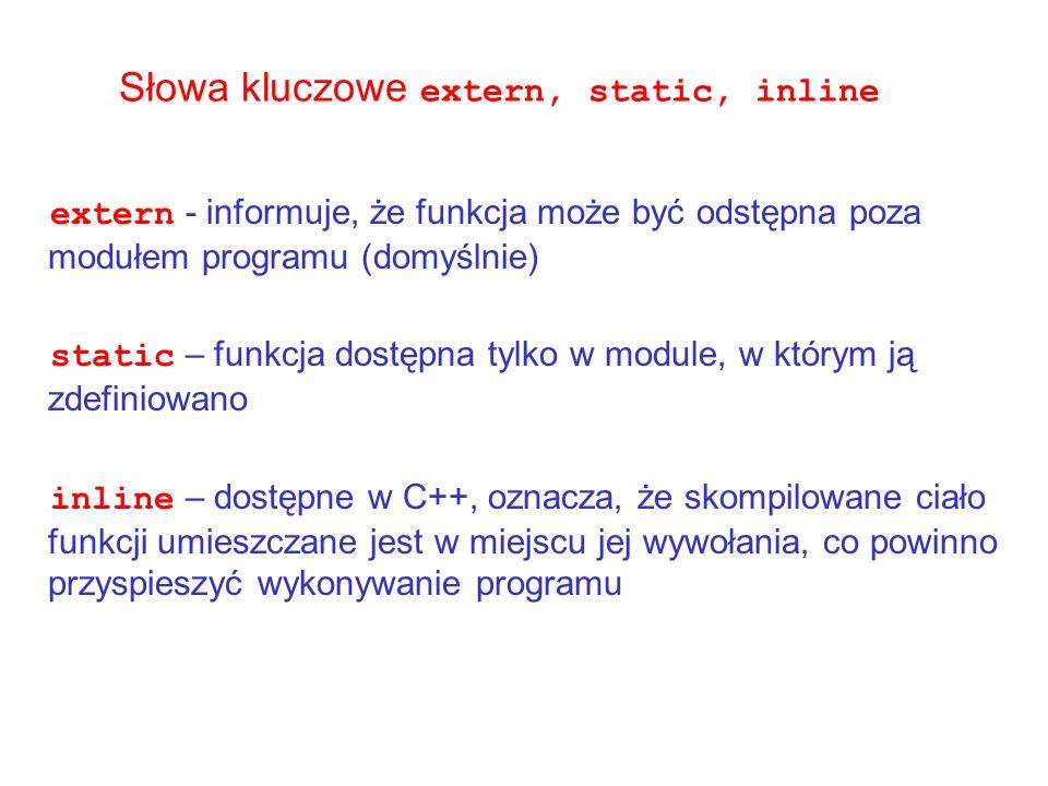 Słowa kluczowe extern, static, inline