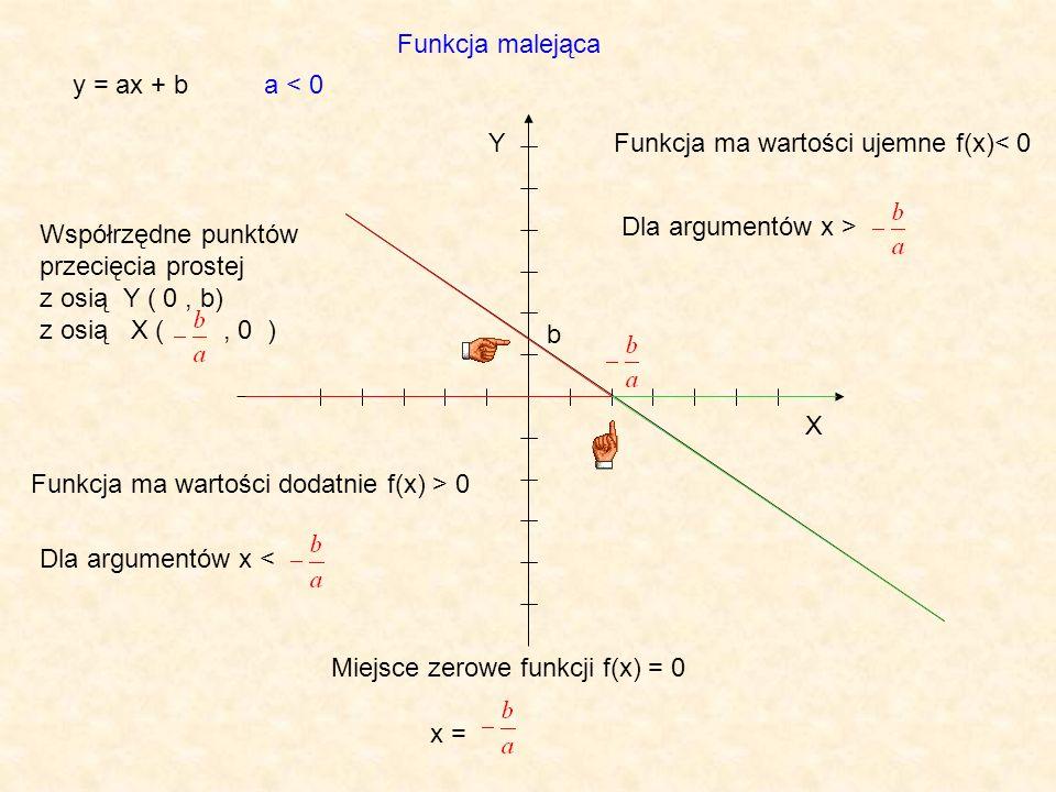Funkcja malejąca y = ax + b. a < 0. Y. Funkcja ma wartości ujemne f(x)< 0. Dla argumentów x > Współrzędne punktów przecięcia prostej.