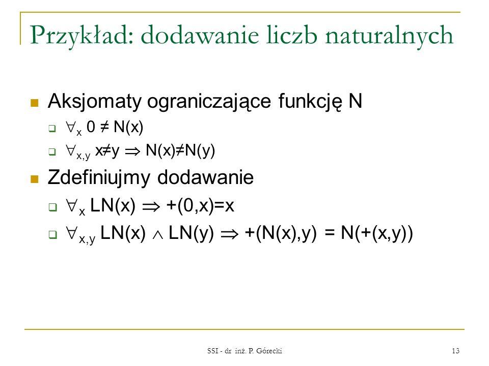 Przykład: dodawanie liczb naturalnych