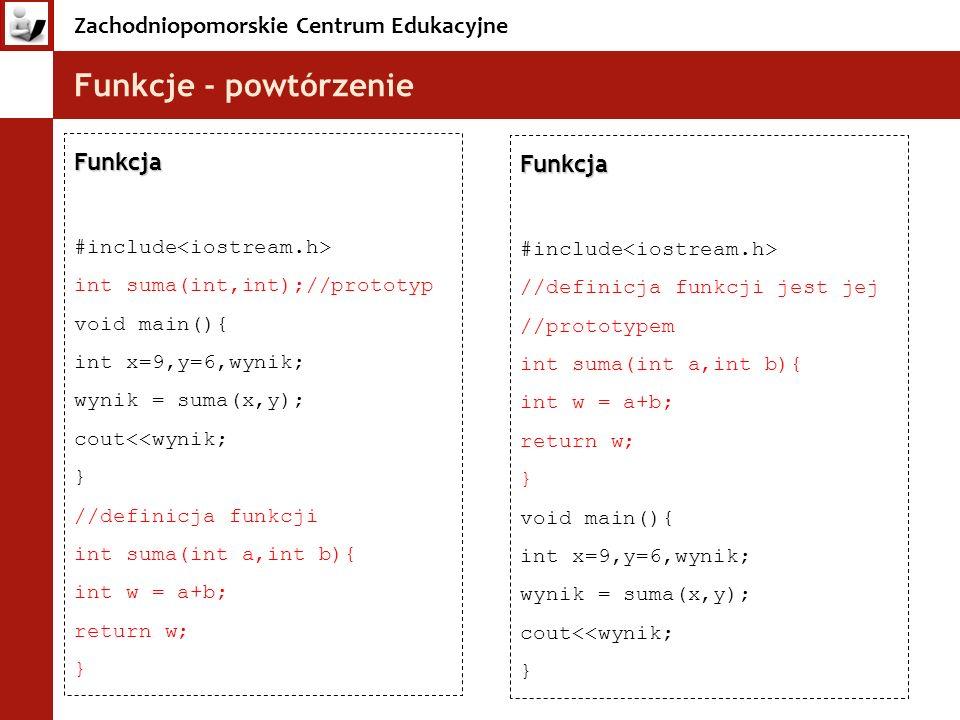 Funkcje - powtórzenie Funkcja Funkcja #include<iostream.h>