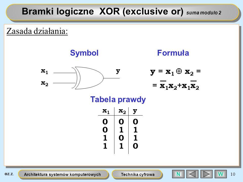 Bramki logiczne XOR (exclusive or) suma modulo 2