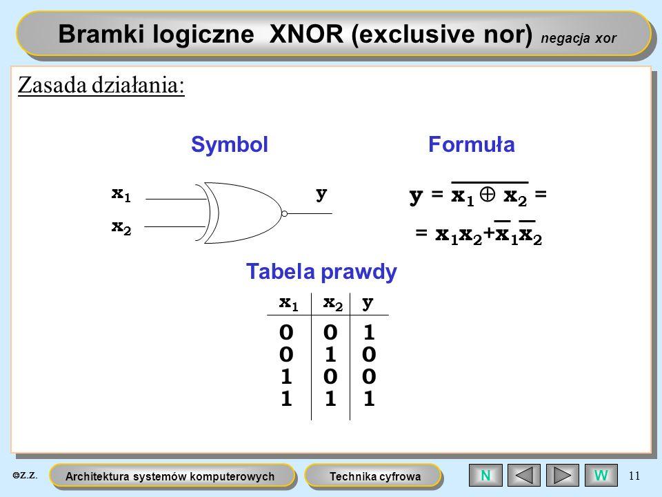 Bramki logiczne XNOR (exclusive nor) negacja xor