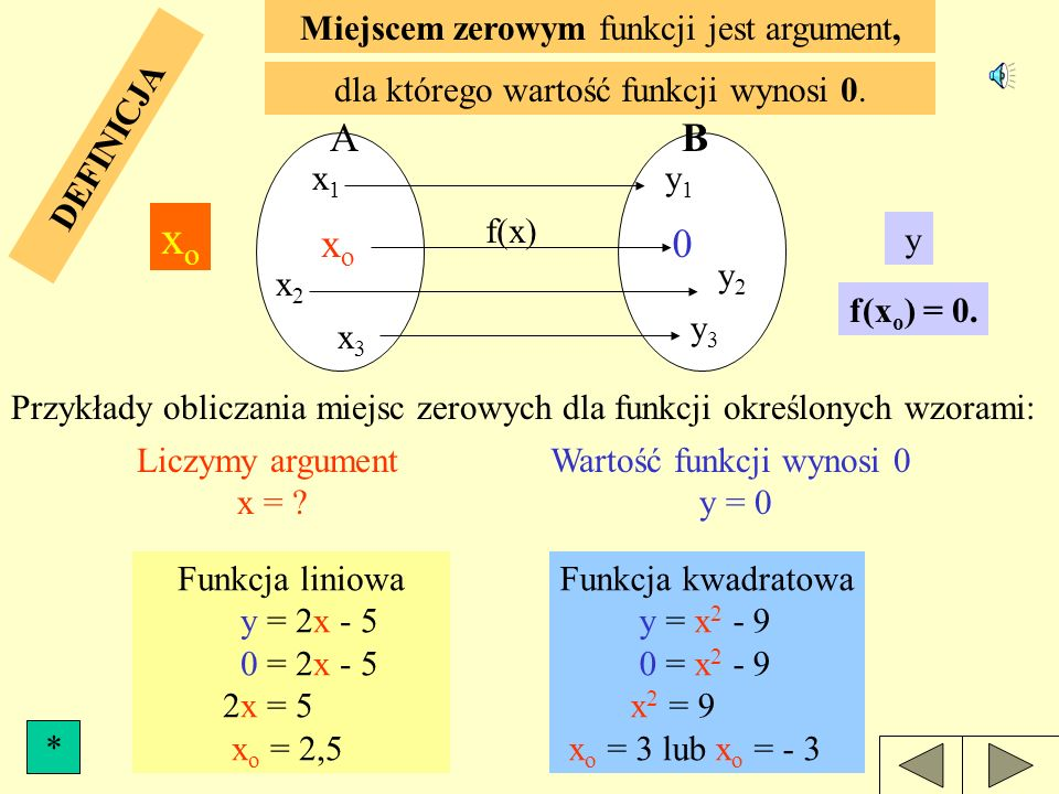 xo A B xo Miejscem zerowym funkcji jest argument,