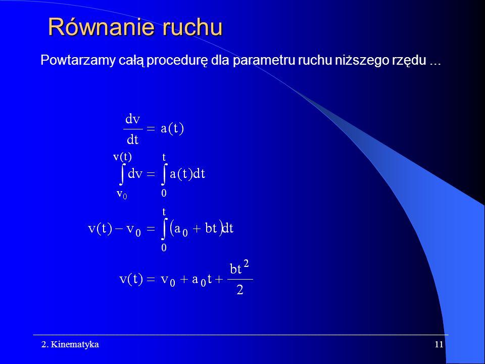 Równanie ruchu Powtarzamy całą procedurę dla parametru ruchu niższego rzędu ... 2. Kinematyka