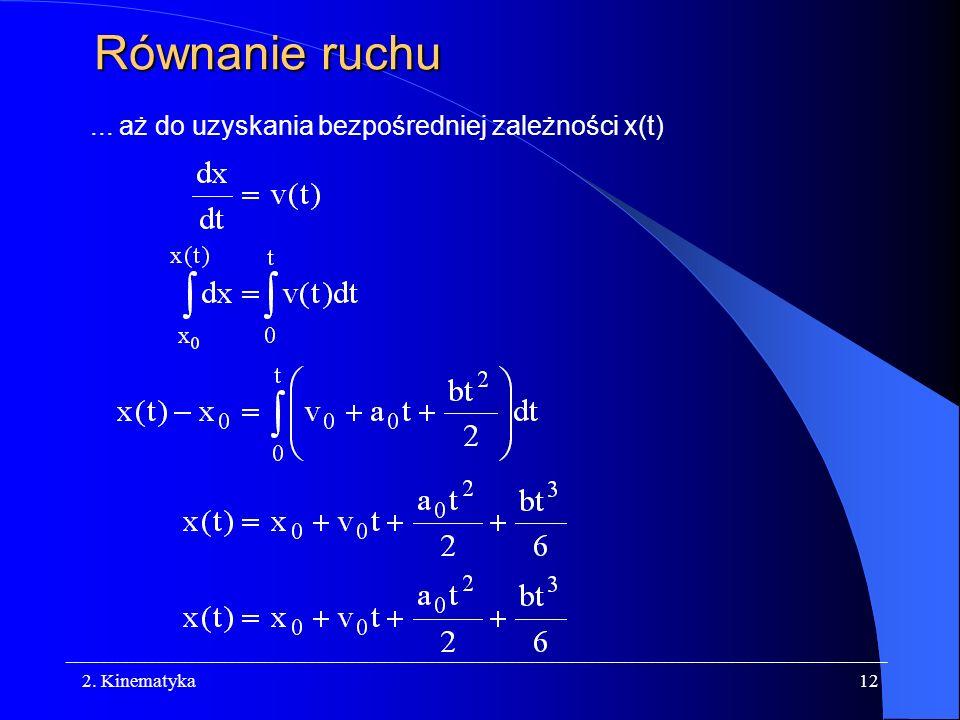 Równanie ruchu ... aż do uzyskania bezpośredniej zależności x(t)