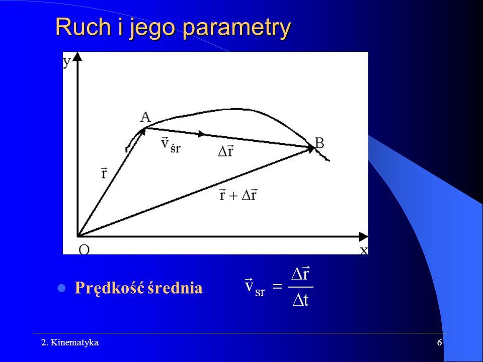Ruch i jego parametry Prędkość średnia 2. Kinematyka
