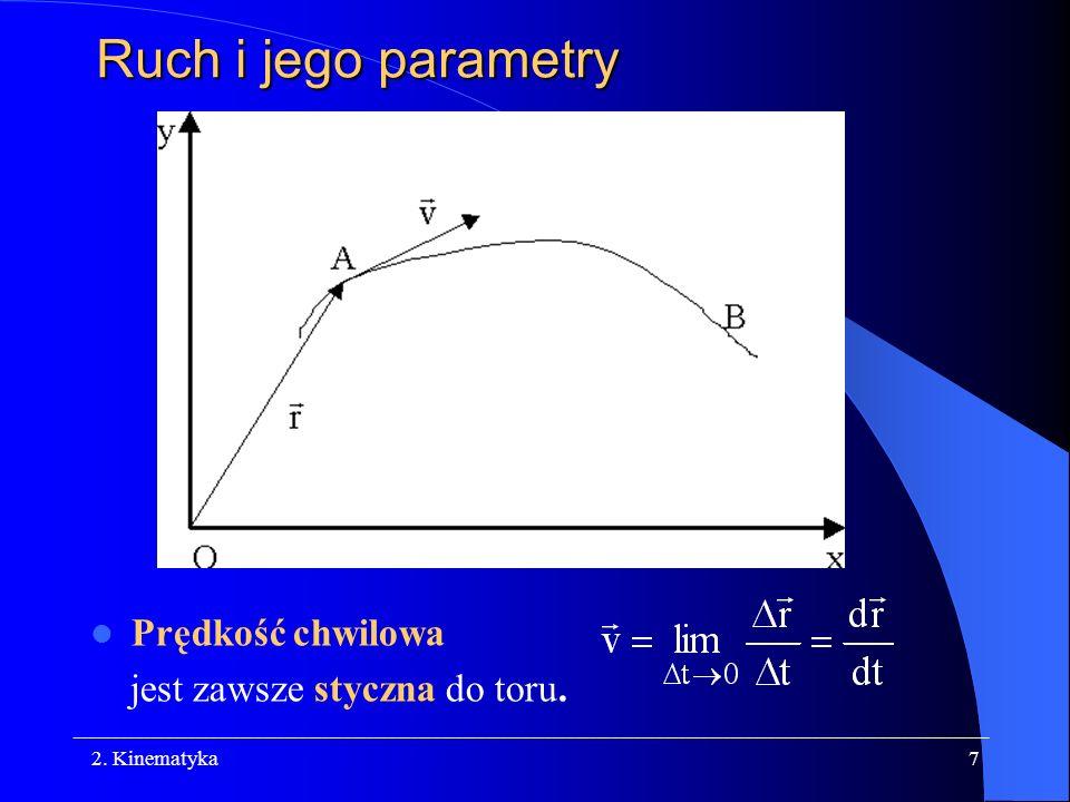 Ruch i jego parametry Prędkość chwilowa jest zawsze styczna do toru.