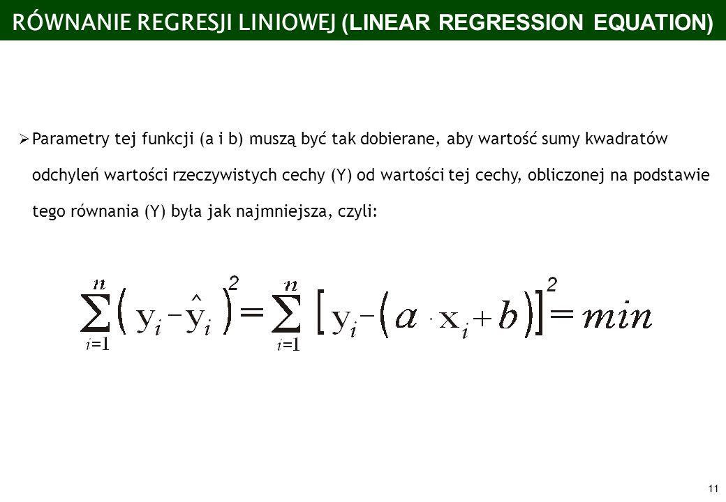 RÓWNANIE REGRESJI LINIOWEJ (LINEAR REGRESSION EQUATION)