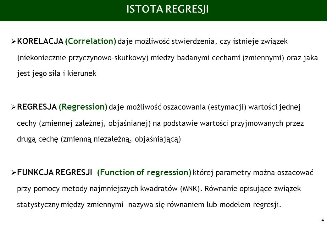 ISTOTA REGRESJI