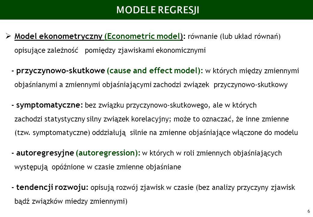 MODELE REGRESJI Model ekonometryczny (Econometric model): równanie (lub układ równań) opisujące zależność pomiędzy zjawiskami ekonomicznymi.