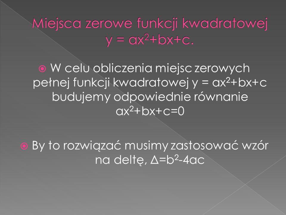 Miejsca zerowe funkcji kwadratowej y = ax2+bx+c.
