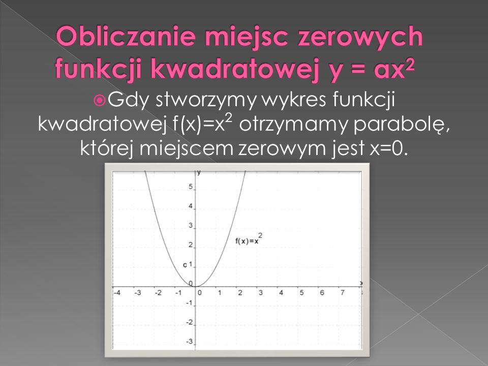 Obliczanie miejsc zerowych funkcji kwadratowej y = ax2