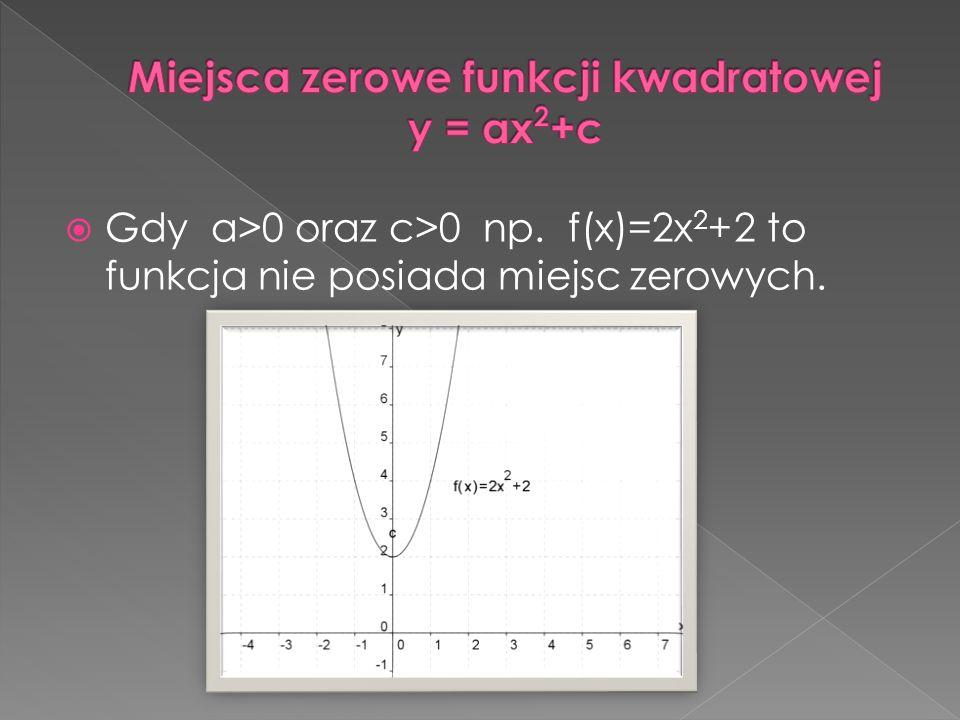 Miejsca zerowe funkcji kwadratowej y = ax2+c