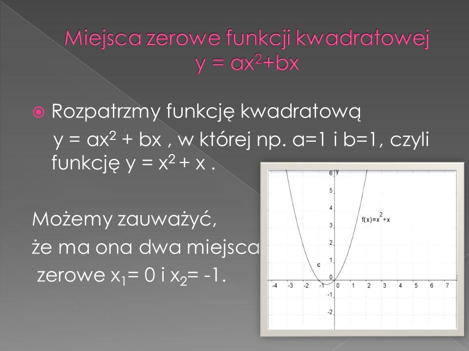 Miejsca zerowe funkcji kwadratowej y = ax2+bx