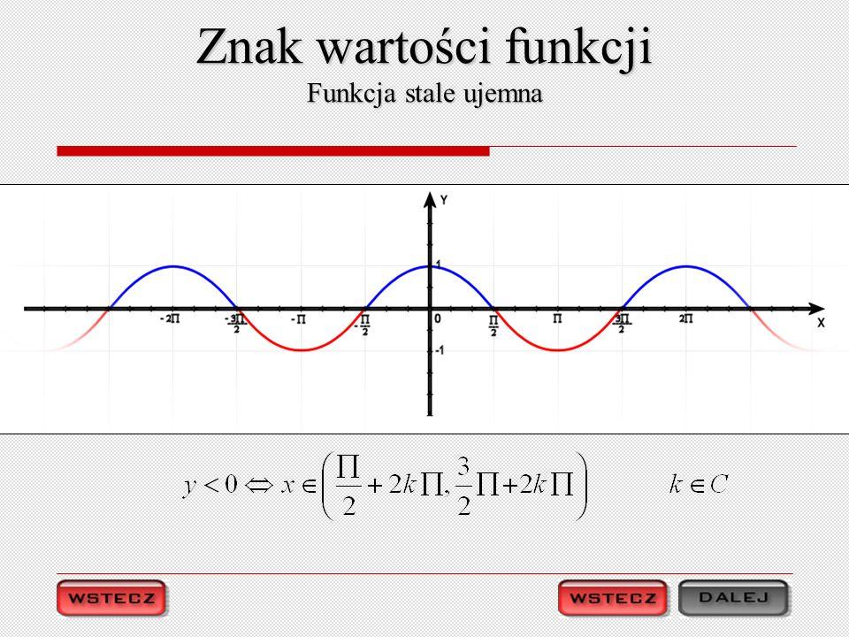 Znak wartości funkcji Funkcja stale ujemna