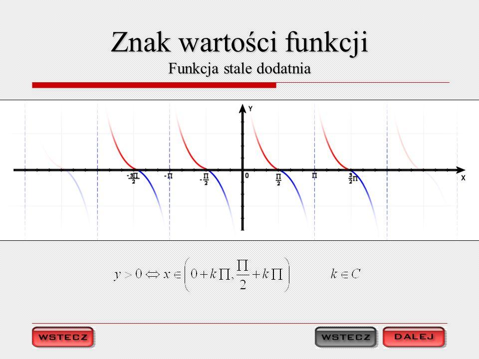 Znak wartości funkcji Funkcja stale dodatnia