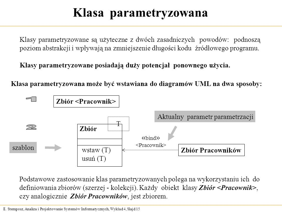 Klasa parametryzowana Zbiór <Pracownik>