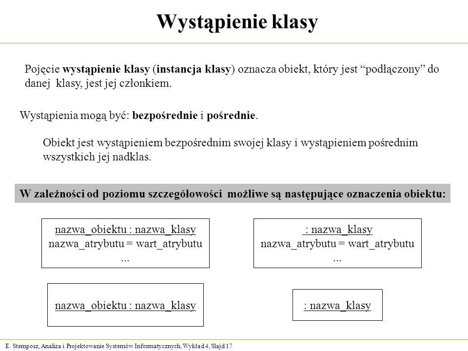 Wystąpienie klasy Pojęcie wystąpienie klasy (instancja klasy) oznacza obiekt, który jest podłączony do.