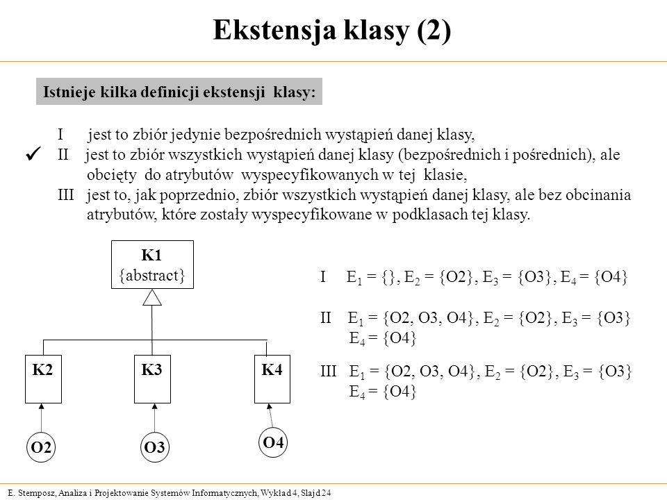 Ekstensja klasy (2)  Istnieje kilka definicji ekstensji klasy: